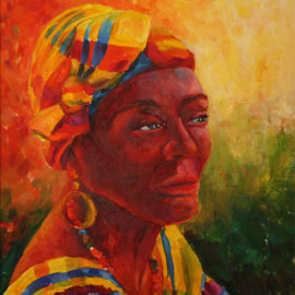Caribbean woman. Oil. by Vera Ambroise