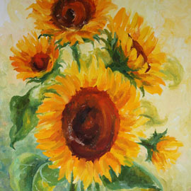 Sunflowers. Oil. by Vera Ambroise
